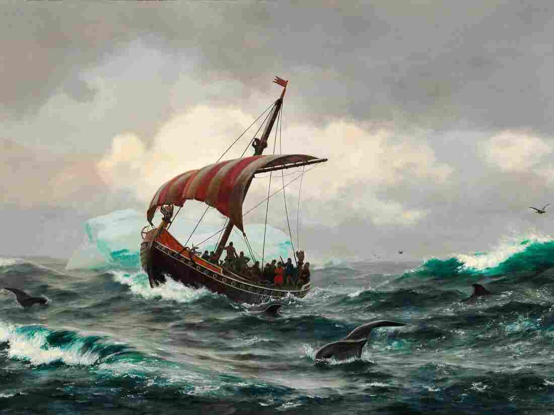 Painting by Carl Rasmussen: Summer in the Greenland coast circa year 1000