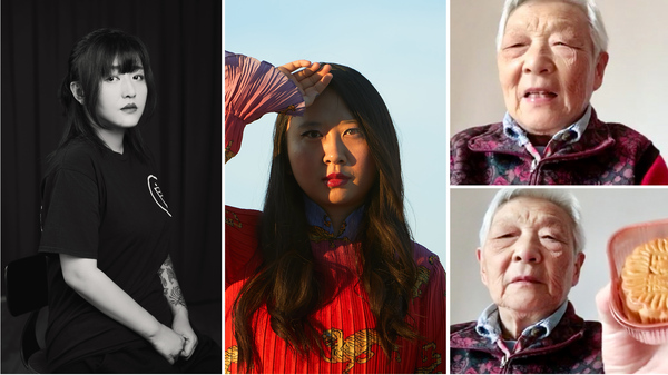 From left: Deng Ge is a rap mogul who became a lockdown activist. Poet Sally Wen Mao Mao uses her art to express her anger about how Chinese people are being portrayed in the pandemic. Writer and comic artist Laura Gao, living in the U.S., has a video chat with her grandmother Zhou Nai, who