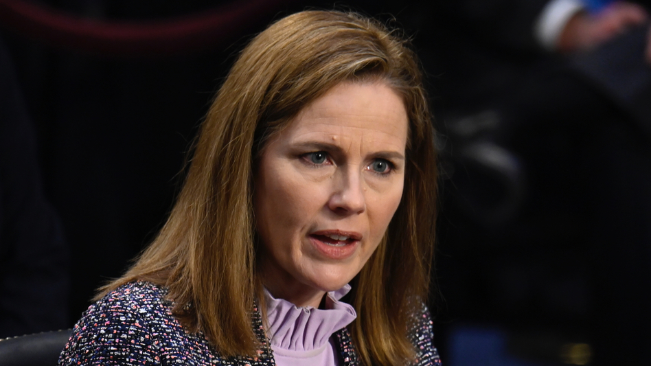 Supreme Court nominee Judge Amy Coney Barrett testifies before the Senate Judiciary Committee on the third day of her confirmation hearing  Wednesday. (Andrew Caballero-Reynolds-Pool/Getty Images)