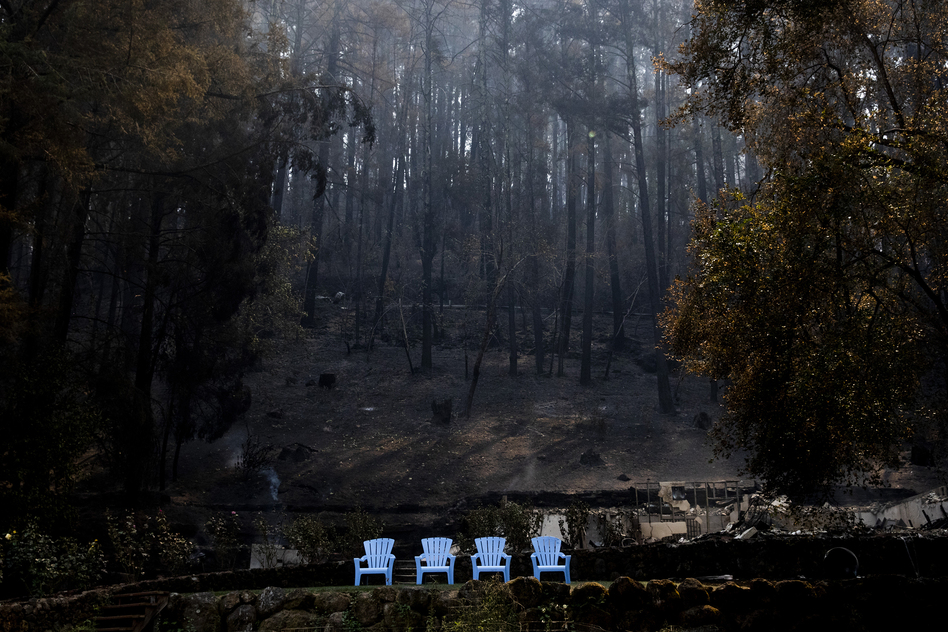 The Osbornes' two-story house burned to the ground during the Glass Fire in Napa County, Calif. Their lawn furniture somehow survived.