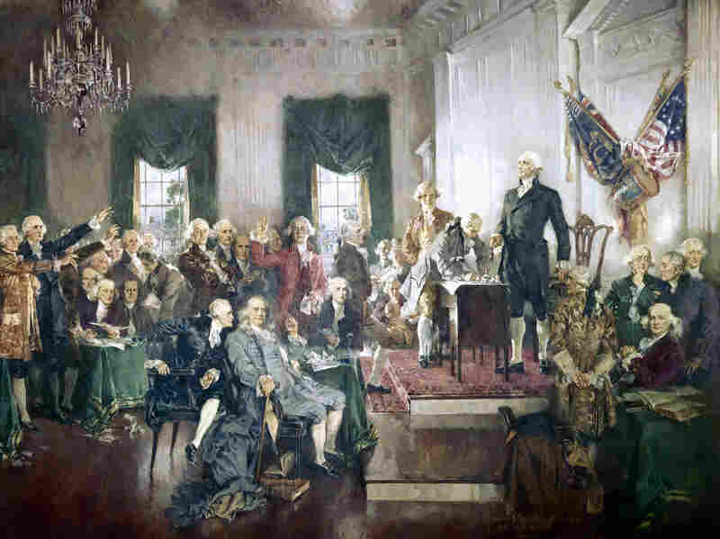The signing of the Constitution at the Constitutional Convention of 1787, Philadelphia. Painting by Howard Chandler Christy, 1940.