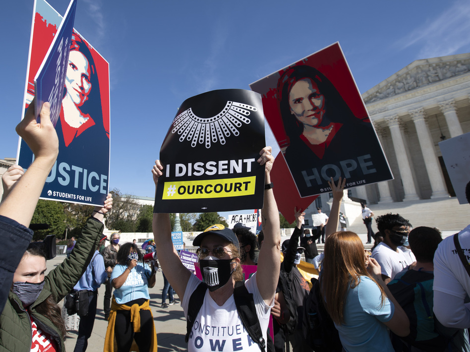 Supporters and opponents of the confirmation of Judge Amy Coney Barrett rally Wednesday at the Supreme Court. On Thursday, witnesses will speak at the Senate Judiciary Committee for and against President Trump's nominee to the court. (Jose Luis Magana/AP)