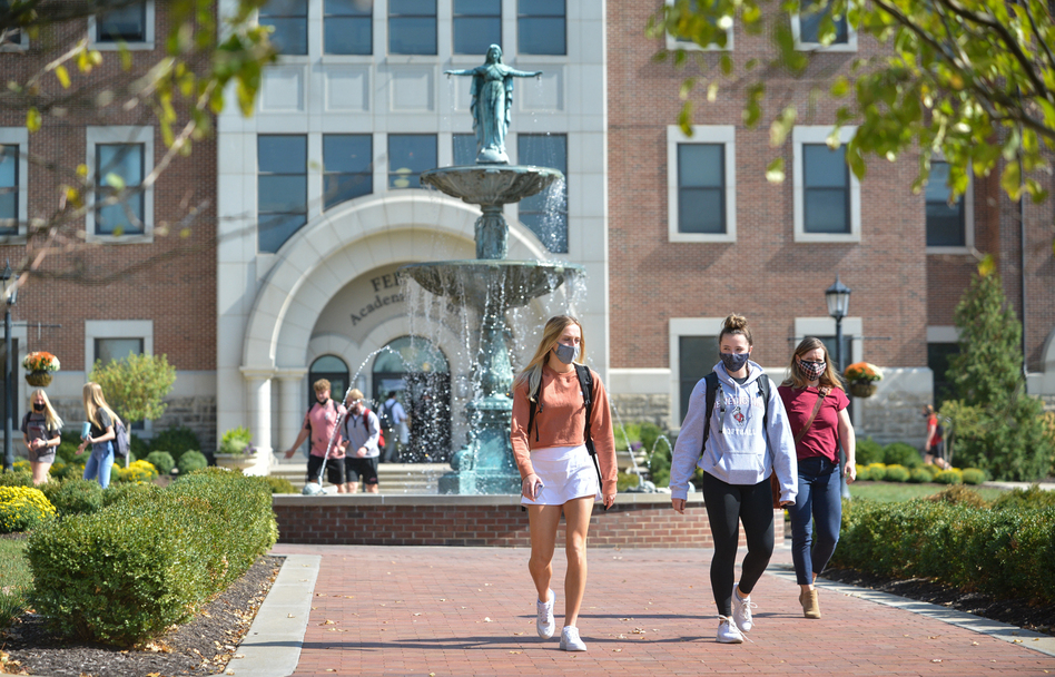 Students at Benedictine College in Atchison, Kan. The pandemic is straining many small American colleges, but some enjoy distinct advantages over their bigger rivals in fighting the spread of the coronavirus on campus. (Carlos Moreno/KCUR.org)