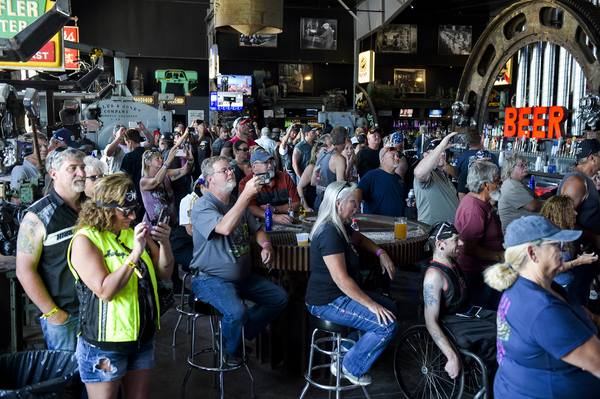 Outbreaks can be seeded when people cluster in bars, such as this one in Sturgis, S.D., during the Sturgis Motorcycle Rally in August.