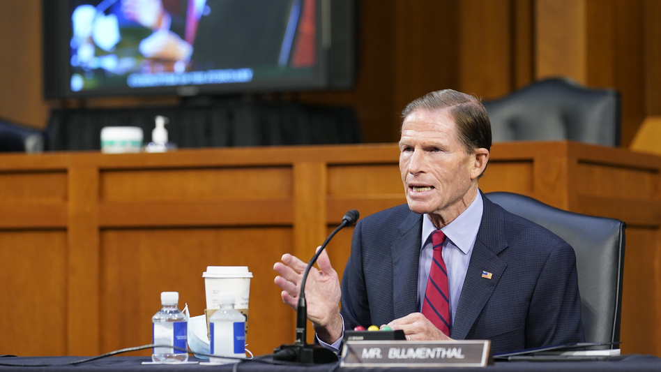 Sen. Richard Blumenthal, D-Conn., speaks before the Senate Judiciary Committee during the confirmation hearing for nominee Amy Coney Barrett on Thursday. (Susan Walsh/Pool/Getty Images)