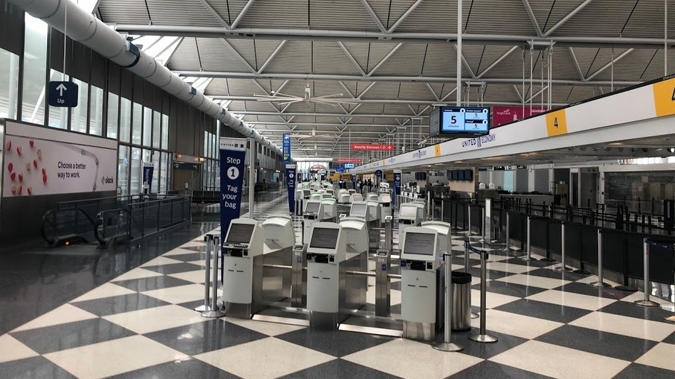United Airlines' nearly empty terminal at Chicago's O'Hare International Airport in April. (David Schaper/NPR)
