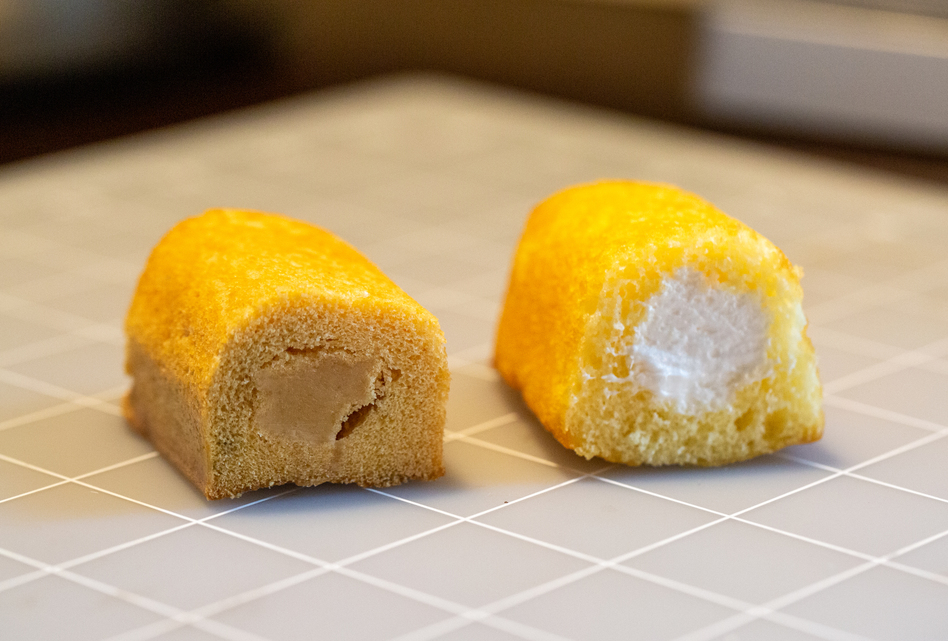 Purrington compared the cross section and filling of a Twinkie from 2012 (left) with one from this year.