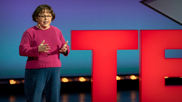 Rebecca Knill speaks at TED@WellsFargo, February 5, 2020, at the Knight Theater in Charlotte, NC. Photo: Ryan Lash / TED