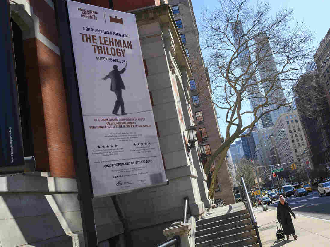 """A banner advertising the """"Lehman Trilogy"""" in New York."""