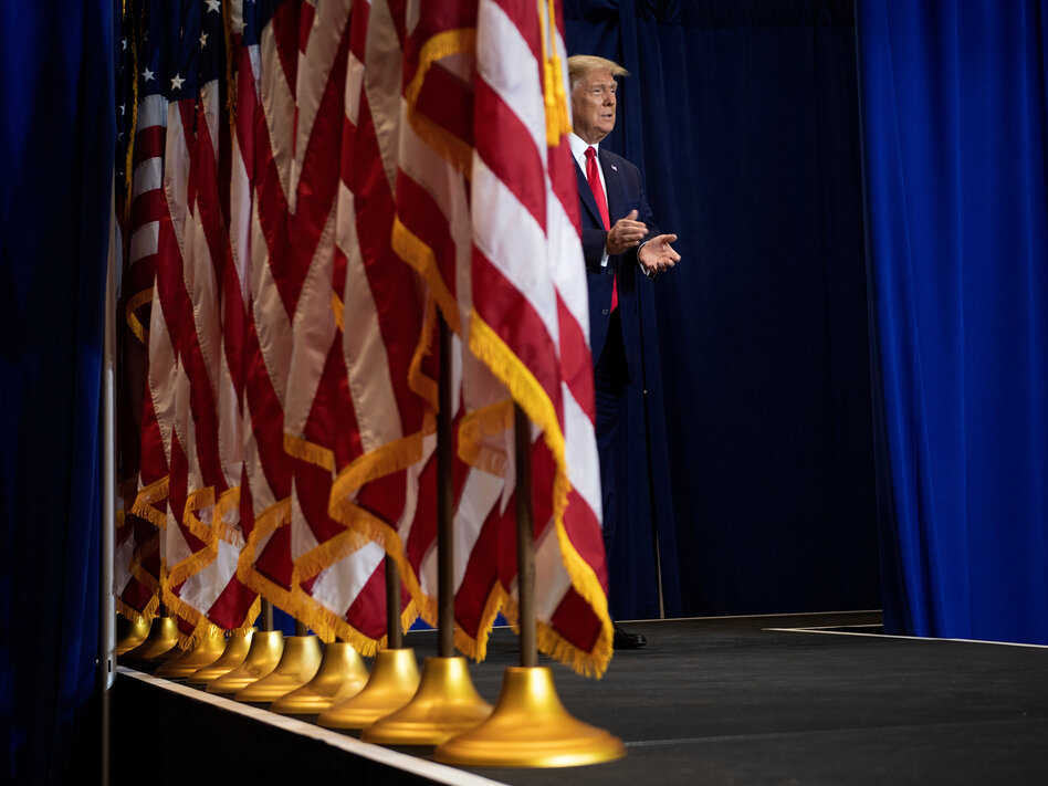 President Trump speaks to seniors in Fort Myers, Fla., with a kinder, gentler message on the coronavirus.