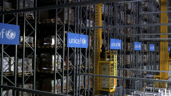 UNICEF said Monday it plans to stockpile 520 million syringes in its warehouses in preparation for an eventual COVID-19 vaccine. This warehouse in Copenhagen, Denmark is part of the agency