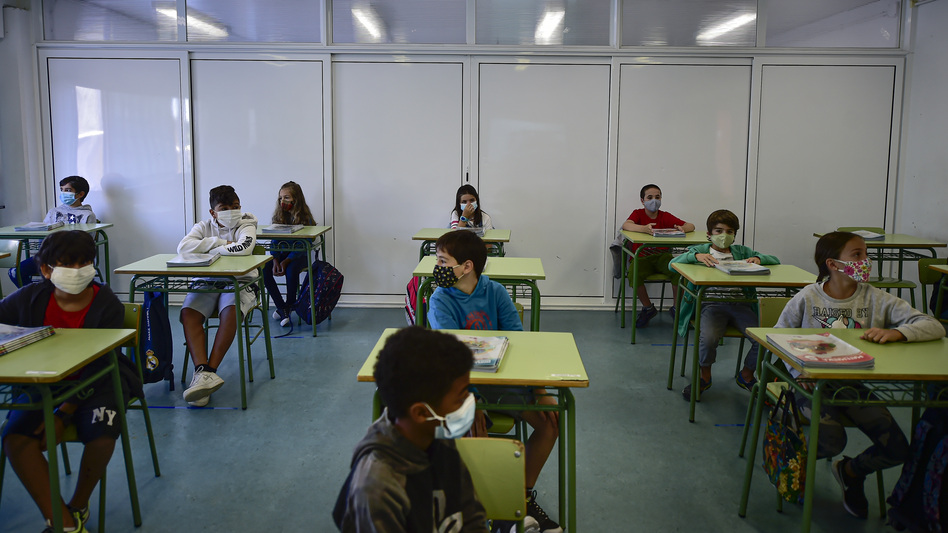 Students attend the first day of school in the small town of Labastida, Spain, on Sept. 8. A recent study found no link between coronavirus spikes and school reopenings in the country. (Alvaro Barrientos/AP)