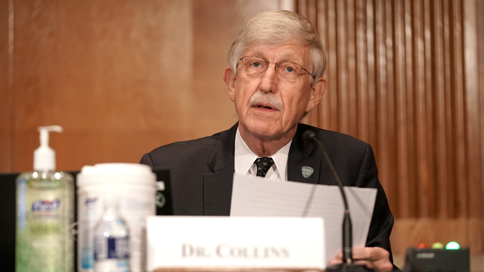 Dr. Francis Collins, director of the National Institutes of Health, is pictured on Sept. 9 on Capitol Hill. Collins says a vaccine would not be approved for emergency use before late November at the earliest. (Greg Nash/Pool/Getty Images)
