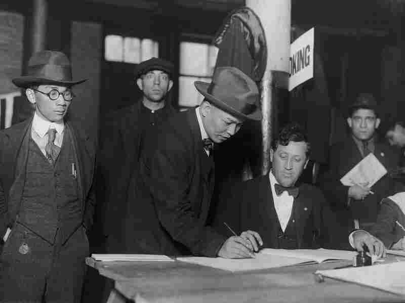 Mr. Ju Lin Ong casts his vote at 11 Pell Street, Chinatown, 1930.