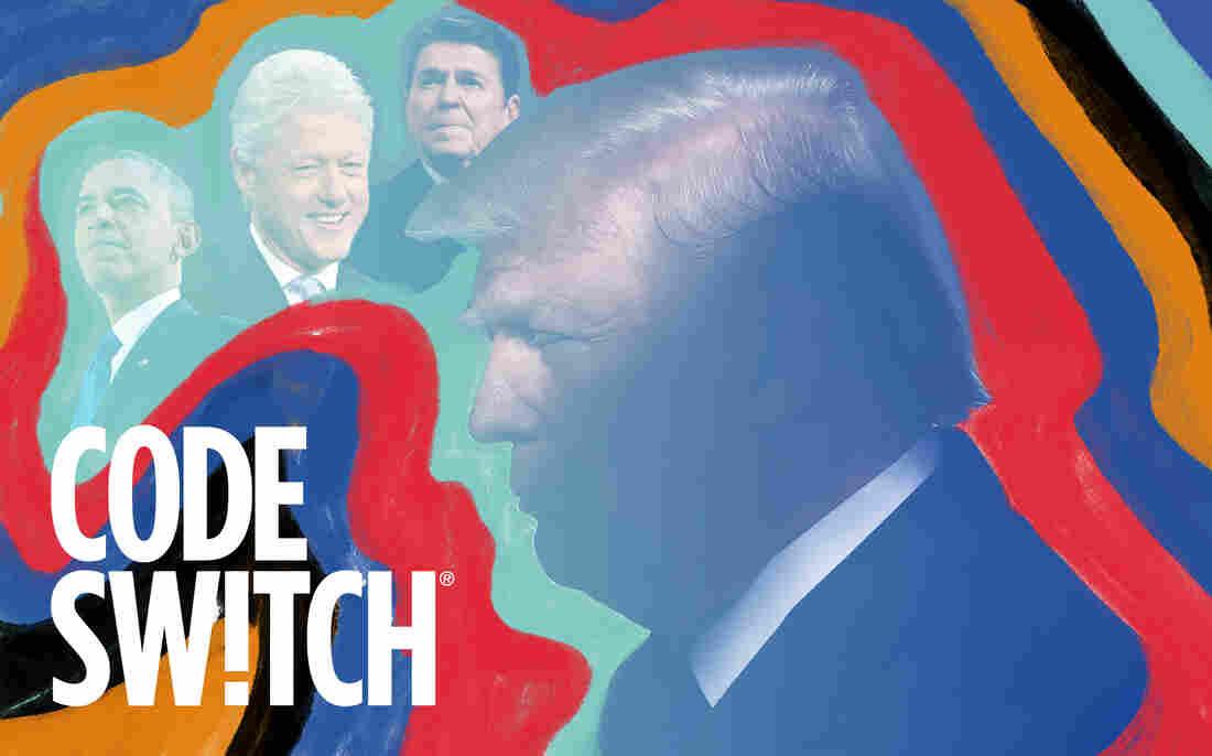 A photo illustration of Donald Trump, Barack Obama, Bill Clinton and Ronald Reagan.