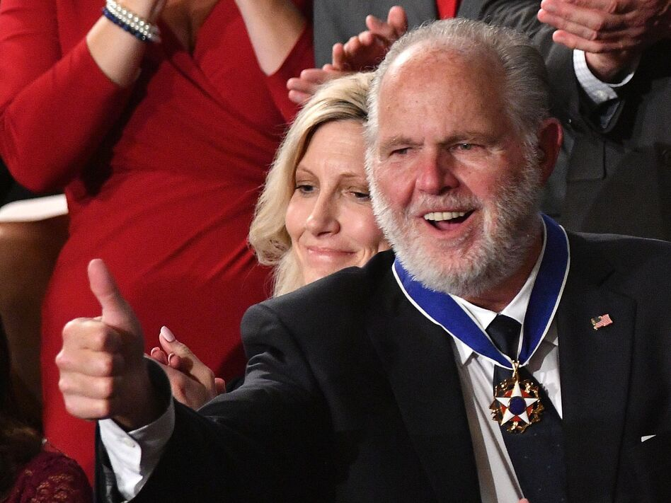 Conservative and controversial talk radio host Rush Limbaugh was awarded the Presidential Medal of Freedom during President Donald Trump's State of the Union address in February 2020. (Mandel Ngan/AFP via Getty Images)