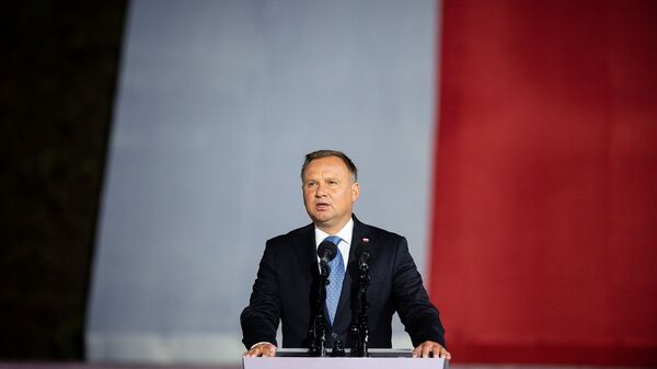 Polish President Andrzej Duda speaks to a crowd in September. Duda is in isolation after being infected with the coronavirus.