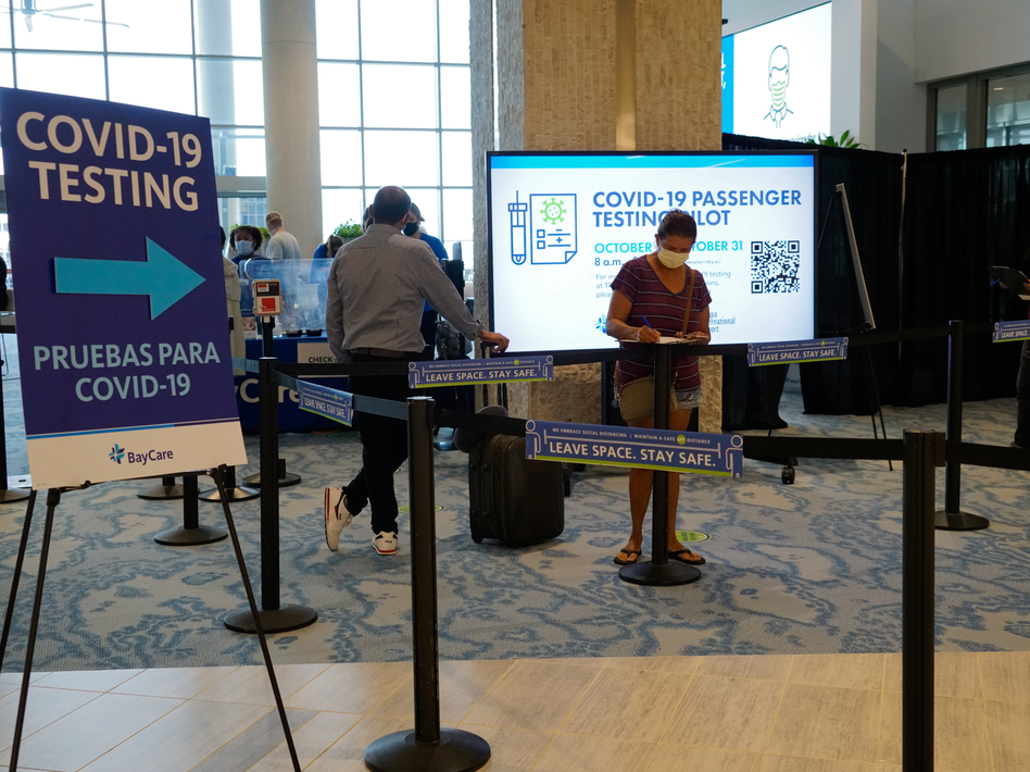 The Tampa International Airport has started coronavirus testing for passengers with a boarding pass or proof of a reservation for a flight in the near future. (Danny Valentine/Hillsborough County Aviation Authority)