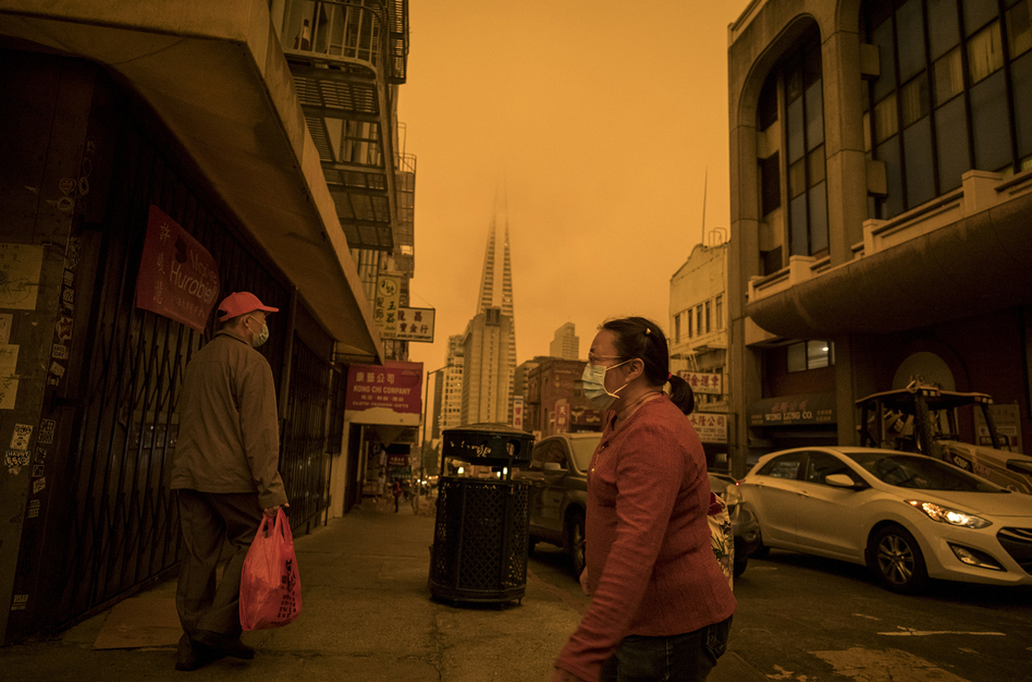 Pollution is a global problem. Above: Stockton Street in the Chinatown district of San Francisco on Sept. 9, a time when air quality was affected by wind and wildfires. (David Paul Morris/Bloomberg via Getty Images)