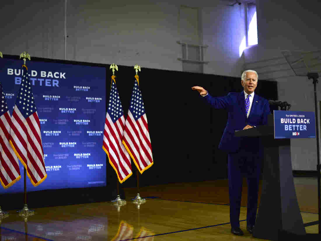Democratic presidential nominee former Vice President Joe Biden on July 28, 2020 in Wilmington, Delaware talking about his Build Back Better economic plan.