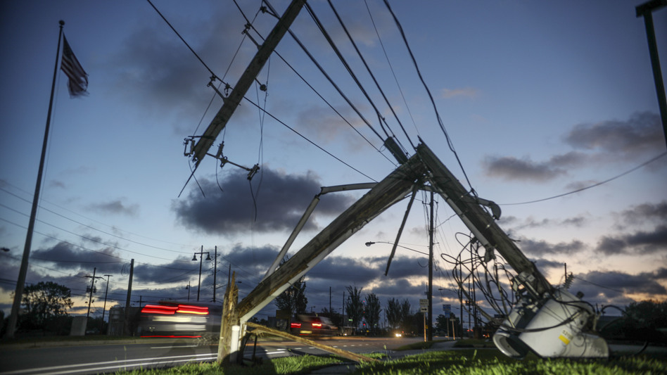 Downed power lines and other damage from Hurricane Zeta are seen in Chalmette, La., on Thursday. Seven hurricanes have hit the Gulf Coast in 2020, bringing extensive destruction to the area. (Sandy Huffaker/Getty Images)