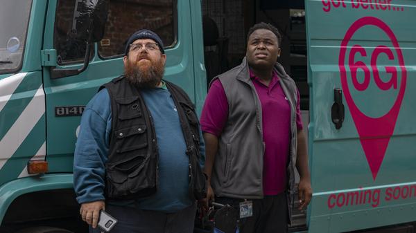 Broadband installers Gus (Nick Frost) and Elton (Samson Kayo) midnight as paranormal investigators in Amazon