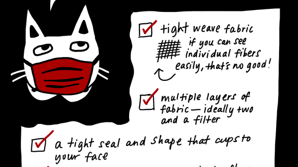 Some criteria that make a safer fabric mask: tight weave fabric; multiple layers of fabric (ideally two layers and a filter); a tight seal and shape that cups to your face; and pleats or folds.