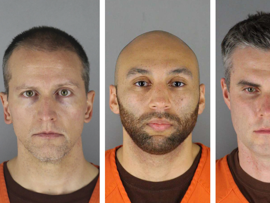 From left, Derek Chauvin, J. Alexander Kueng, Thomas Lane and Tou Thao. A Minnesota judge decided Thursday to try all four men together in the case of the killing of George Floyd. (Hennepin County Sheriff's Office via AP)