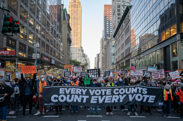 Protesters take to the streets of New York City as results of the presidential election remain uncertain on Wednesday.