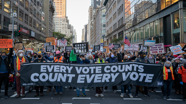Protestors take to the streets as results of the presidential election remain uncertain on Wednesday in New York City.