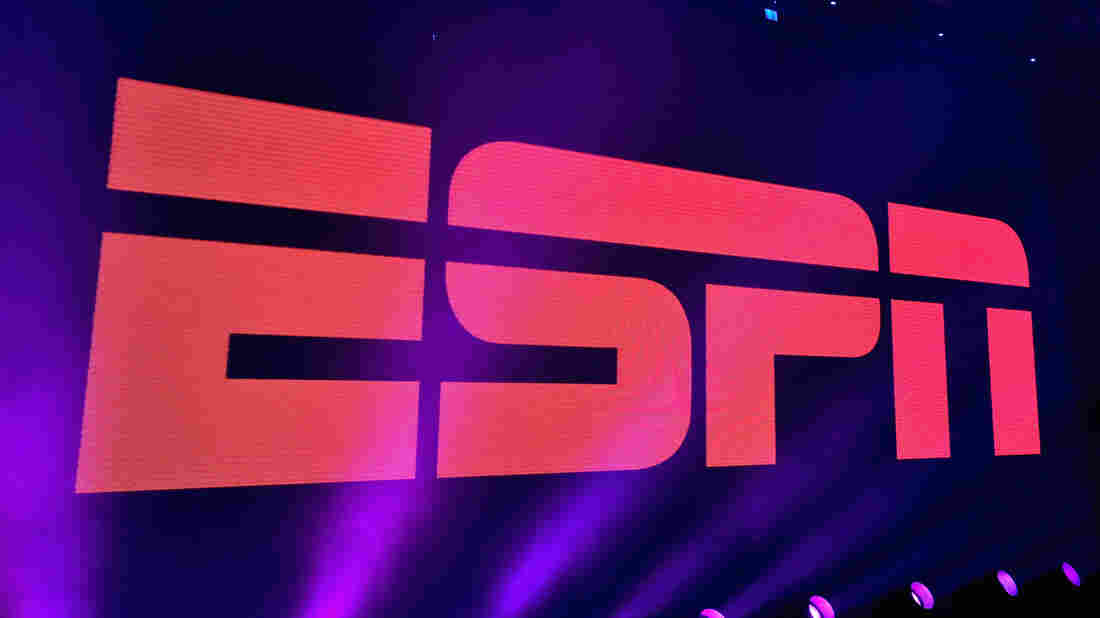 A view of the logo during ESPN The Party on Feb. 5, 2016 in San Francisco.