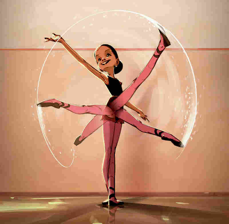 Illustration of a young ballerina practicing the ronde de jambe to tendu front in Bunheads.