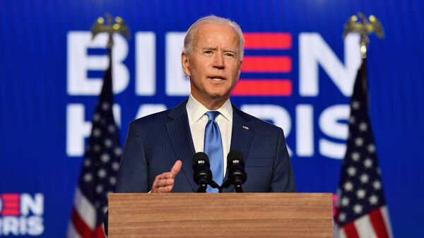 Democratic presidential nominee Joe Biden delivers remarks at the Chase Center in Wilmington, Delaware, on November 6, 2020.