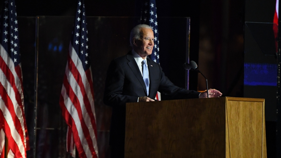 President-elect Joe Biden speaks during an election event in Wilmington, Del., on Saturday evening. (Sarah Silbiger/Bloomberg via Getty Images)