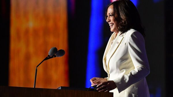 Vice President-elect Kamala Harris delivers remarks Saturday night in Wilmington, Del.
