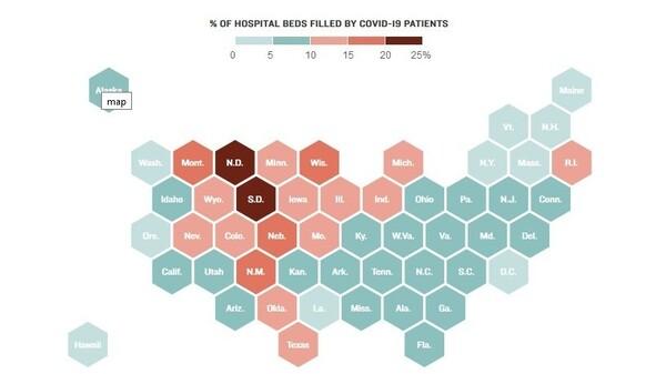 COVID hospitalizations in U.S. states