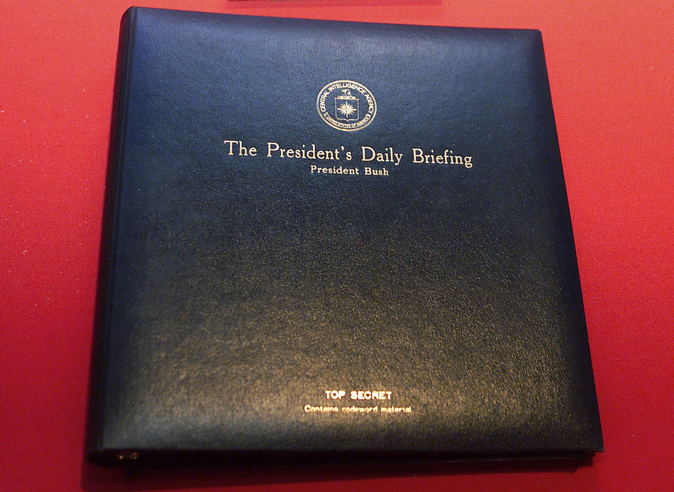The President's Daily Briefing is the top-secret intelligence report presented to the president every weekday. By tradition, the briefing is also offered to presidents-elect, though officials say this hasn't happened yet with Joe Biden. (Damian Dovarganes/AP)