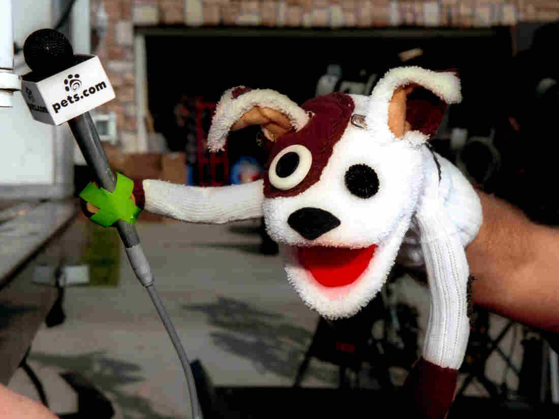 The pets.com sock puppet dog stars in a commercial for the company, Los Angeles, California, January 11, 2000.  (Photo by Bob Riha/Liaison/Getty Images)