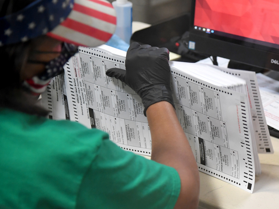 A Clark County election worker scans mail-in ballots on Nov. 7 in North Las Vegas, Nevada. (Ethan Miller/Getty Images)