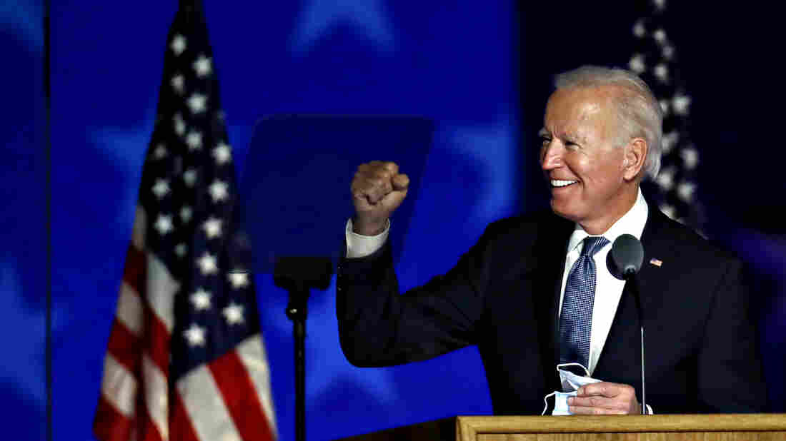 Joe Biden, 2020 Democratic presidential nominee, gestures while arriving during an election night party in Wilmington, Delaware, U.S., on Wednesday, Nov. 4, 2020. Donald Trump falsely declared early Wednesday he had won re-election against Biden and said he would ask the Supreme Court to intervene, even as several battleground states continue to count votes.