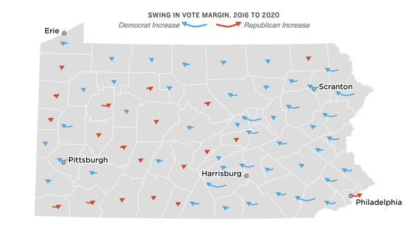 Map of voter swings in Pennsylvania