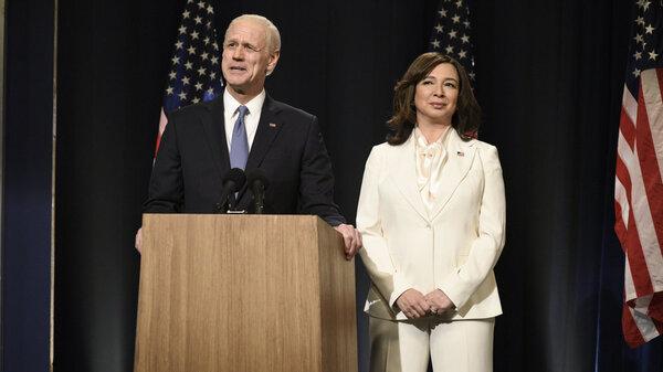 "Jim Carrey as Joe Biden and Maya Rudolph as Kamala Harris during the ""Biden Victory"" Cold Open on Saturday, Nov. 7, 2020."