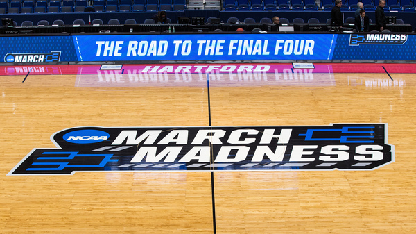 A view of the NCAA logo during the first round of March Madness on March 21, 2019, at XL Center in Hartford, Conn. The NCAA announced it plans to hold the 2021 Men