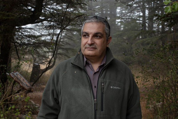 Doctor Nabil Nemer, 48, Associate Dean of Doctoral Studies for Science and Technology at The Holy Spirit of Kaslik University at the Tannourine Cedars Forest Nature Reserve.