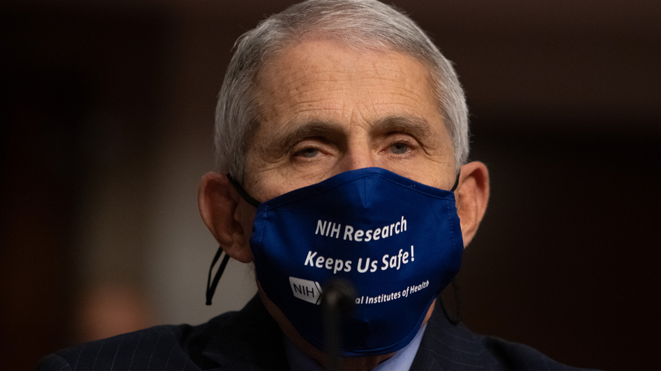 """Dr. Anthony Fauci, director of the National Institute of Allergy and Infectious Diseases at NIH, is pictured on Capitol Hill on Sept. 23. Fauci tells NPR it's """"OK to celebrate"""" the vaccine news. (Graeme Jennings/Pool/Getty Images)"""