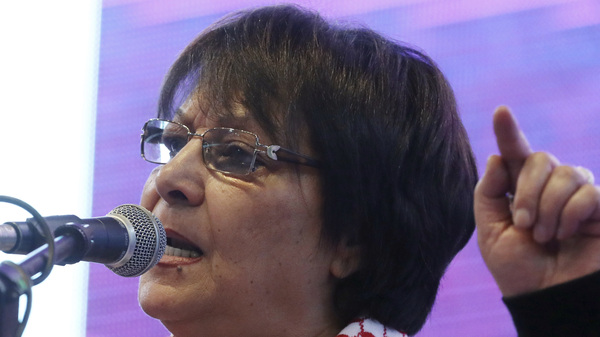 Leila Khaled, activist and prominent member of the Popular Front for the Liberation of Palestine PFLP, speaks during the congress of pro-Kurdish Peoples