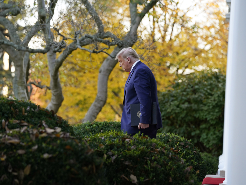 President Trump arrives to speak last week in the White House Rose Garden. He has benefited from the de facto immunity from prosecution that all presidents enjoy while in office. (Evan Vucci/AP)