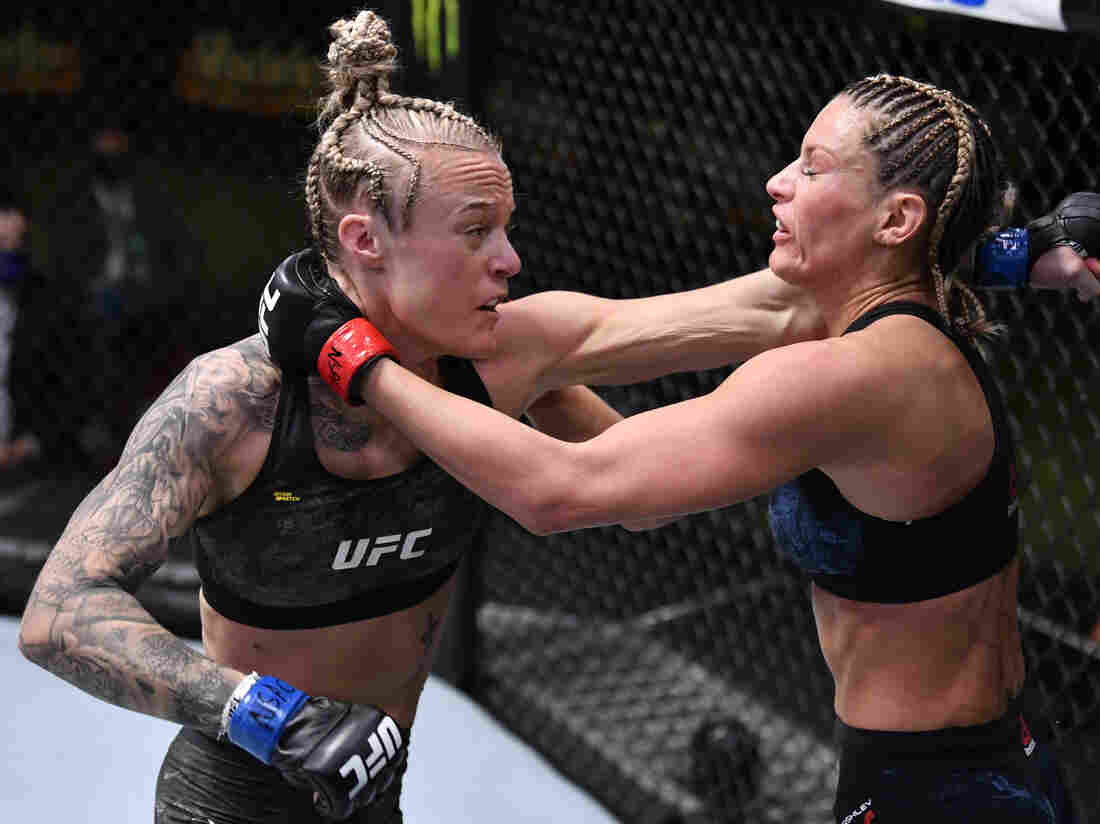 Miranda Granger punches Ashley Yoder for a UFC fight on November 14, 2020 in Las Vegas, Nevada.