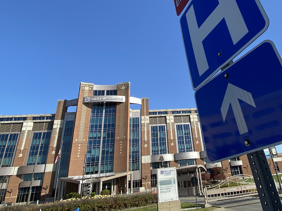 """Saint Luke's Hospital of Kansas City is one of the 18 hospitals in the Saint Luke's Health System. Two-thirds of the COVID-19 patients transferred to Saint Luke's from rural areas need intensive care. """"We get the sickest of the sick,"""" says Dr. Marc Larsen. (Carlos Moreno/KCUR)"""