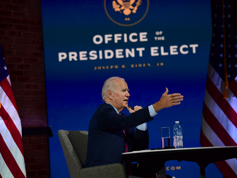 President-elect Joe Biden speaks Monday in Wilmington, Del., during a virtual meeting with the U.S. Conference of Mayors. (Mark Makela/Getty Images)